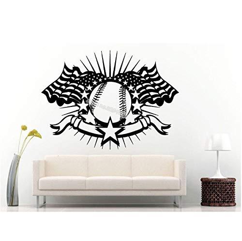 Erstickende kunst wandaufkleber amerikanische flagge baseball Kreative vinyl wohnkultur schöne kunst wandbild 77x56 cm