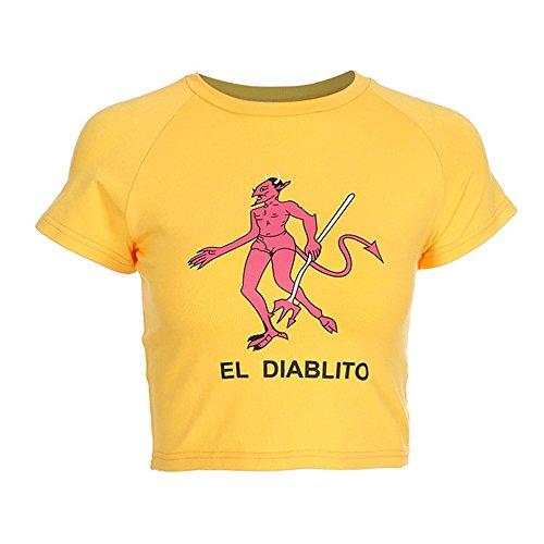 malianna Frauen-Karikatur-dünnes Geerntetes T-Shirt Baumwolldruck-Gelb Gestrickte Teufel-Spitze (L)