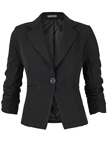 Eleganter Damen Blazer Jacke aus Baumwolle für Business Freizeit Party ( 418 ), Farbe:Schwarz, Kostüme & Blazer für Damen:38 / M (Ärmel Blazer Geraffte)
