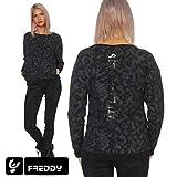 Freddy Damen Sweatshirt mit Camouflage Muster Pullover mit Druck Pulli Rundhals Black Camouflage Allover L