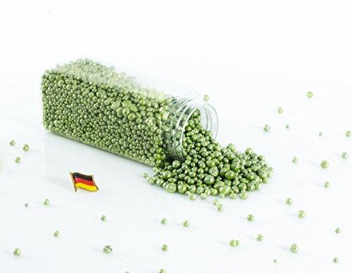 Set 3 x Deko Perlen Granulat / Blähtonkugeln PERLA, glänzend apfelgrün, 2-8mm, 605ml Dose, Made in Germany - Dekogranulat / Deko Perlen Farbgranulat / Pflanzton - monsterkatz