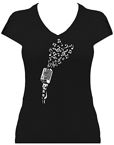 men I love music - Mikrofon mit Noten als Herz Glitzeraufdruck , T-Shirt, Grösse XL, Druck weiß ohne Glitzer ()