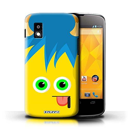 Kobalt® Imprimé Etui / Coque pour LG Nexus 4/E960 / Pourpre conception / Série Monstres Jaune
