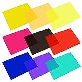 9 Pezzi Filtro Gel Trasparente Colore Fogli Pellicola in Plastica Correzione Gel Leggero Filtro, 11.7 per 8.3 Pollici, 9 Colori