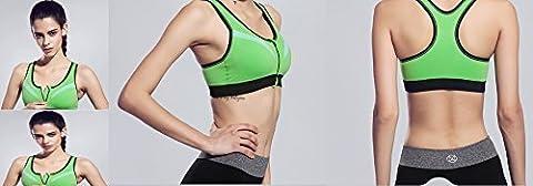 Top Gym Sport-BH Frauen Reißverschluss Sport BH Push Up stoßfest