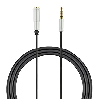 1.7m 3.5mm Male to 3.5mm Female Auxiliary 4-Pole TRRS Stereo Audio Extension Cable (Gold Plated Connectors) for Apple, Samsung, Motorola, HTC, Nokia, LG, Sony Devices & More - Black