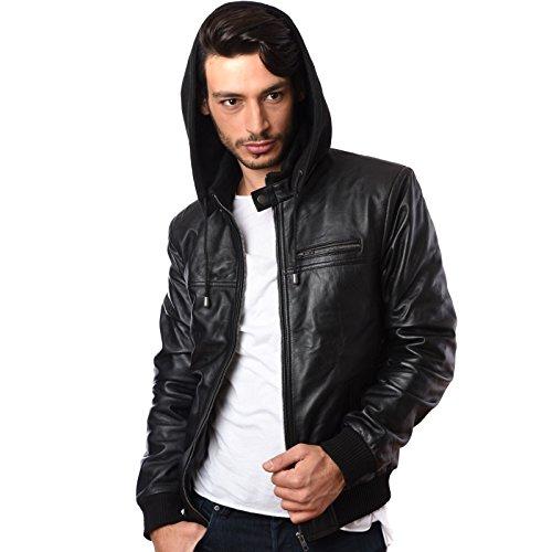 922031d07 Great Bikers Gear Mens Hooded Hoody Real Sheep Nappa Leather Jacket Black  100% Genuine (