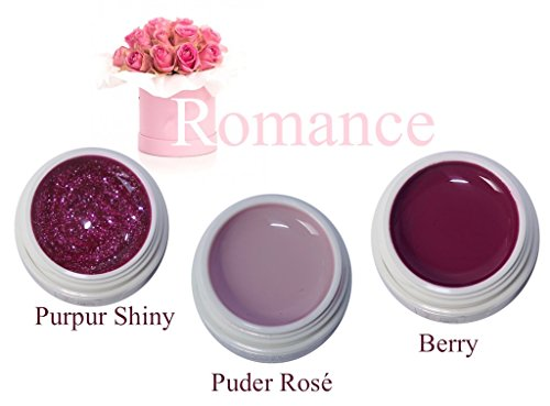 Set Romance, UV-Farbgel 3x5ml + GRATIS Nail Display Herz