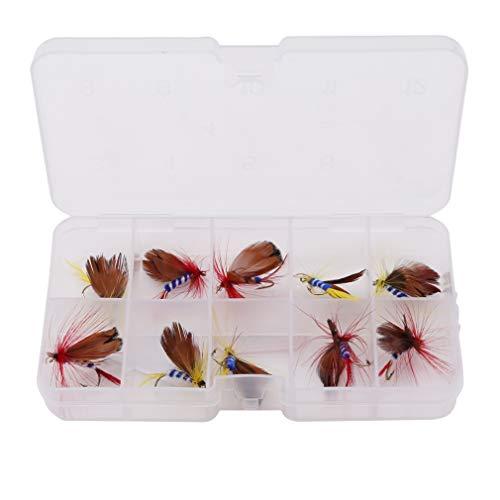 LnLyin Fliegenfischen Trockenfliegen Köder Haken Künstliche Bionic Schmetterling Fliegenfischen Haken Set mit Fall Box, Stil 2 -