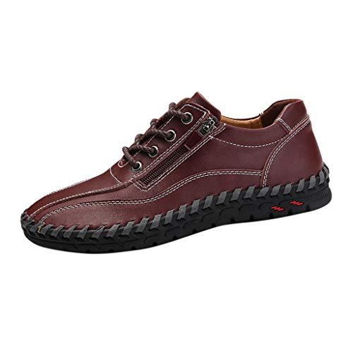 CUTUDE Lederschuhe Herren Leder Freizeitschuhe Mokassins Atmungsaktiv Slip on Loafers Outdoor Casual Sneakers Reißverschluss Retro Geschäfts Schuhe (Kaffee, 43 EU)