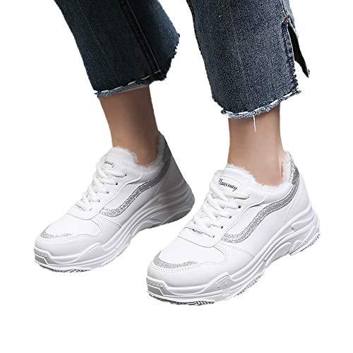 TianWlio Stiefel Frauen Herbst Winter Schuhe Stiefeletten Boots Herren Urban Gemütlich Weich RutschfesterInnen Slipper Gestreift Baumwolle Slippers Silber 38