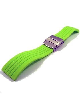 ZeitPunkt-Streifensilikonband mit Edelstahlsicherheitsfaltschließe neongrün 24 mm