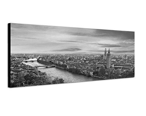 Keilrahmenbild Panoramabild SCHWARZ/Weiss 150x50cm Italien Verona Stadt Fluss Abendlicht - Weiß Verona-kunst