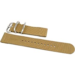 DaLuca Two Piece Ballistic Nylon NATO Watch Strap - Sand : 20mm