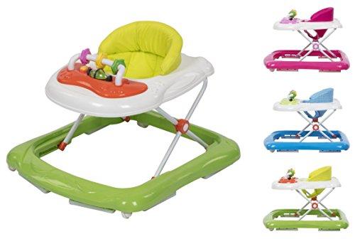 Clamaro \'BABYRACER\' Baby Gehfrei (grün) - Höhenverstellbare Lauflernhilfe mit extra hoher Rückenlehne und bequemen Polstern, extra Spielcenter mit Musik