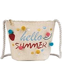 b4c798b8d68 Bolsa de paja Bolsa de playa de verano Bolsa de mensajero pequeña con Pom  Pom para