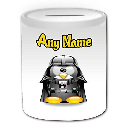 Personalisiertes Geschenk–Darth Vader Spardose (Pinguin Film Charakter Design Thema, weiß)–Jeder Name/Nachricht auf Ihre Einzigartiges–Kostüm Film Superheld Hero Star Wars Jedi Lichtschwert Laser Sword Anakin Skywalker