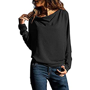 BHYDRY Womens Long Sleeve Solid Color Round Neck Hooded Sweatshirt Blouse Tops