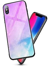 Oihxse Colorido Gradual Cristal Estilo Case Compatible con iPhone 11 Pro MAX 6.5 Funda Vidrio Templado Trasera Carcasa Borde de Silicona Suave Protectora Ultra Fino Anti-arañazos