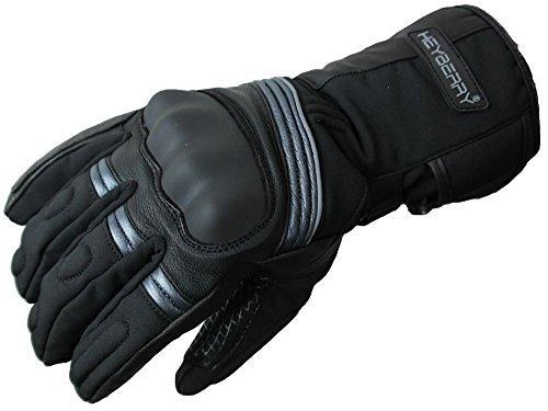 Heyberry Winter Motorradhandschuhe gefüttert schwarz grau Gr. XL