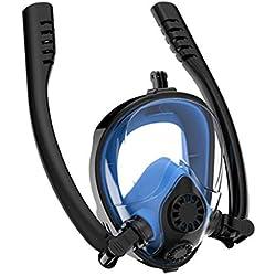 Masque De PlongéE, Masque De Snorkeling Plein Visage 180° Visible Double Tuba Anti-BuéE Anti-Fuite Snorkel Masque avec La Support La Support pour CaméRa De Sport Adapté pour Adulte Et Enfant