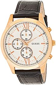 Guess Mens Quartz Watch, Analog Display and Leather Strap W0876G2