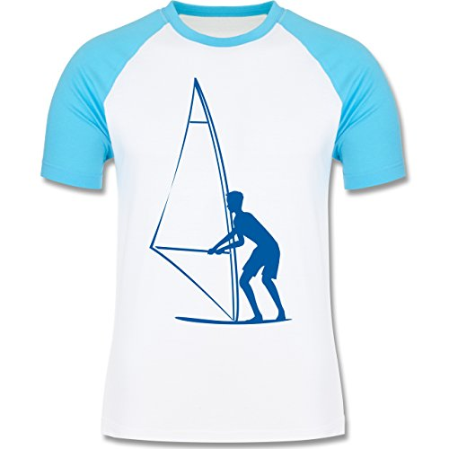 Wassersport - Surfer - zweifarbiges Baseballshirt für Männer Weiß/Türkis