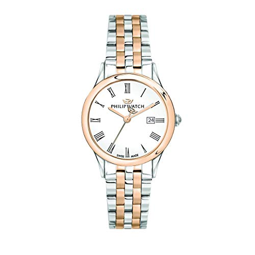 Philip Watch Women's Watch, Marilyn Collection, Quartz Movement and Three Hands Version with Date, Equipped with a Stainless Steel and Rose Gold Bracelet - R8253211502