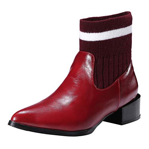 COZOCO Frauen Strick Kunstleder Spleißen Stiefel Spitz Quadrat Ferse Stiefeletten Slip on Freizeit Kurze Stiefel(rot,39 EU)