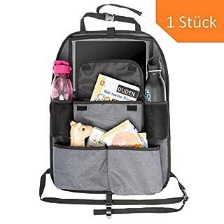 TIMARO Kickmatte Auto | Rücksitz Organizer | Rückenlehnenschoner | iPad-Tabletfach für Kinder | geräumige Rücksitztasche