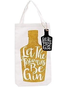 Gold Glitzer Gin Weihnachten Flasche Tasche Geschenk Tüte