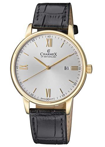 Charmex Amalfi CX-3025 Montre de Luxe pour Homme en Cristal Saphir Noir Bracelet en Cuir plaqué Or Jaune 42 mm Boîtier en Acier Inoxydable résistant à l'eau