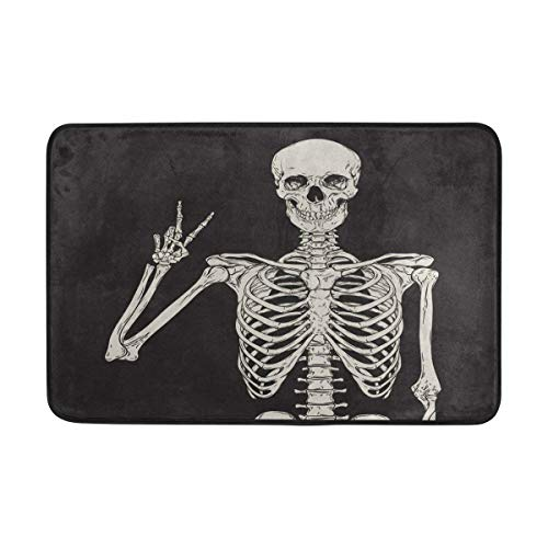 ALAZA Vintage Hipster Skelett Sugar Skull Fußmatte Indoor Outdoor Entrance Unterlegmatte Badezimmer 59,9x 39,9cm