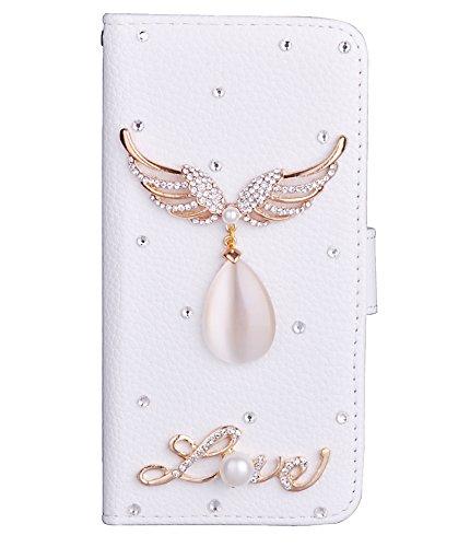 Unendlich U Bunte Krstall Engel Flügel mit Perle Love Handy Wallet Leder Tasche Hülle Schale für iPhone 6 und für iPhone 6s 4,7 Zoll