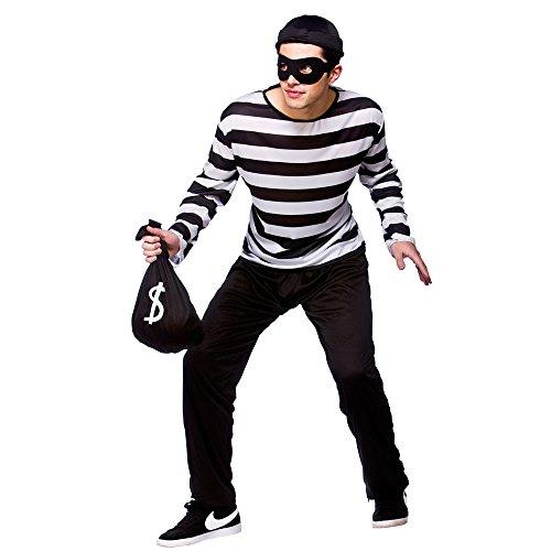 (XL) Herren Einbrecher Räuber Kostüm für Cops Polizei Räuber Gesetz Fancy Kleid Mans Stecker XL