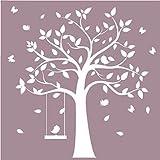 Abnehmbarer Vinyl weiß Wandaufkleber Baum mit Cute Birds für Mädchen Schlafzimmer