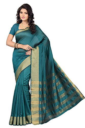 Rani Saahiba Synthetic Saree (Skr1288_Turquoise)  available at amazon for Rs.399
