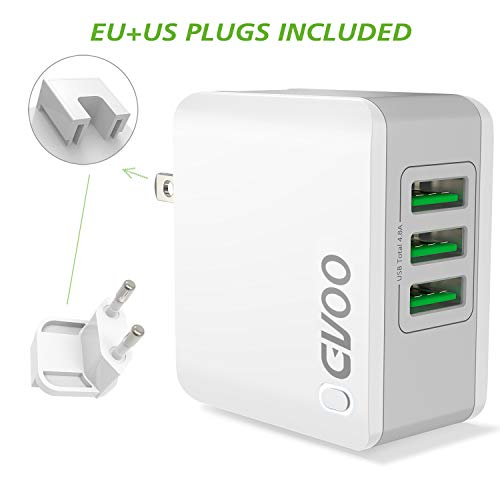 GVOO USB Ladegerät,Universal 3 Anschlüsse US/EU Multi-Stecker USB Charge Smart 24W/5V 4.8A Multi Wall Charge für iPhone X/5/6/7/8/Plus, Apple iPad Serie,Galaxy Note8/6/5/S9/ S8/S7/S6 (Für Bank Transformer Power Asus)