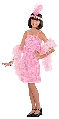 Charleston Kostüm Flapper für Mädchen - Rosa - 10 bis 12 Jahre