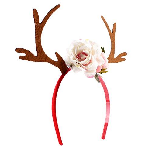 Gazechimp Erwachsene Kinder Weihnachten Blumen Geweihe Kostüm Haarreif Haarband - Weiß (Kostüm Geweih)