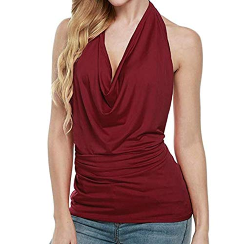 BHYDRY Frauen Sexy Halter Drapieren Cowl Neck Tank Bluse Backless Sleeveless Weste Tops(Small,Wein)