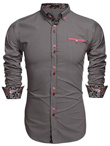 Coofandy Camisa Casual Manga Larga Para Hombre de Moda Gris Talla-S