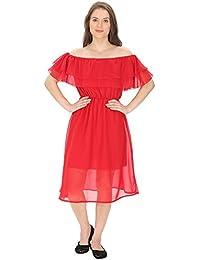 FRANCLO Women's Off-shoulder frill dress