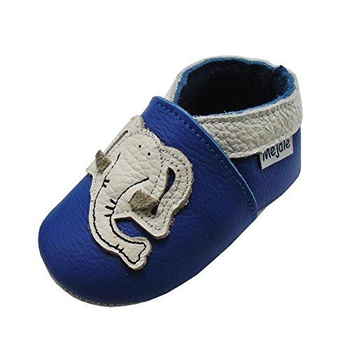 Mejale Weiche Sohle Leder Babyschuhe Lauflernschuhe Krabbelschuhe Kleinkind Kinderschuhe Hausschuhe Karikatur Elefant(0-6 Monate, Blau)