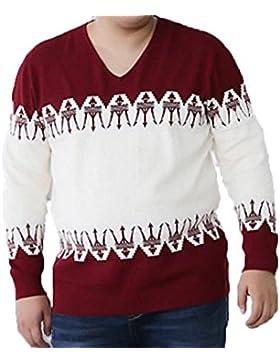 De Gran Tamaño De Los Hombres Suéter Suéter Caliente Suéter De Manga Larga De Cuello V Suéter Camisa