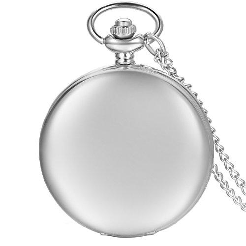JewelryWe Herren Damen Taschenuhr Classic Glänzend Kettenuhr Analog Quarz Uhr mit Halskette Kette Umhängeuhr Pocket Watch Geschenk Silber