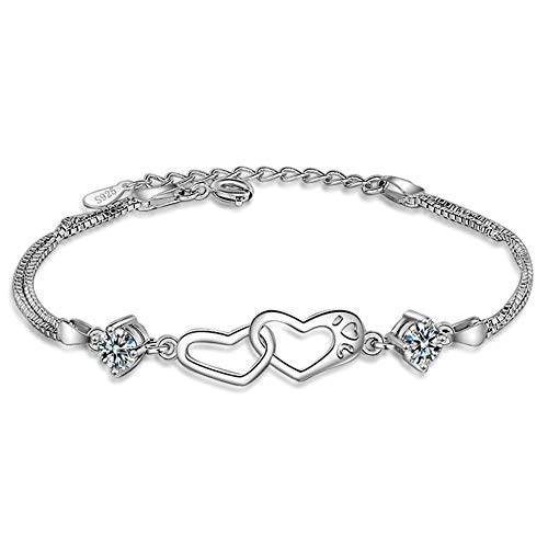 July Sunny Armband Frauen Armbänder Heart-Shaped Zirkon Damen Bettelarmband Armband Armkette Einstellbar Schmuck zum Muttertag