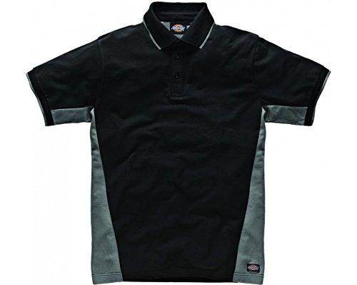 Dickies Zwei Ton Polo-Shirt Getäfelten Short Sleeve Work Workwear Grau - Grau / Schwarz