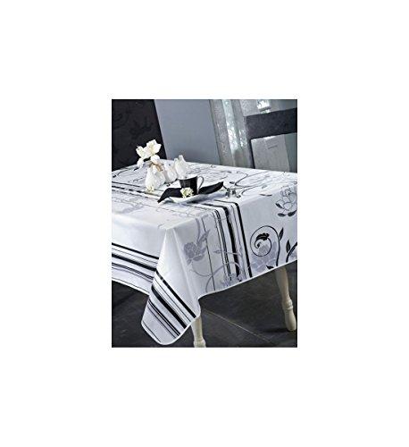 Design–Tischdecke, Wachstuch, rechteckig, 140x 250cm, Palace. 140x 200cm, rund, 180cm 90% PVC, 10% Polyester nicht DE LAVAGE, oder Bügeln Dekoration, schwarz, Ronde 180 (- Pvc-bügel)