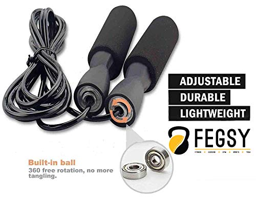 FEGSY Adjustable Jumping Skipping Rope for Men, Women, Children, Adult Best in Home Gym Exercise, Workout, Fitness, and Weight Loss.